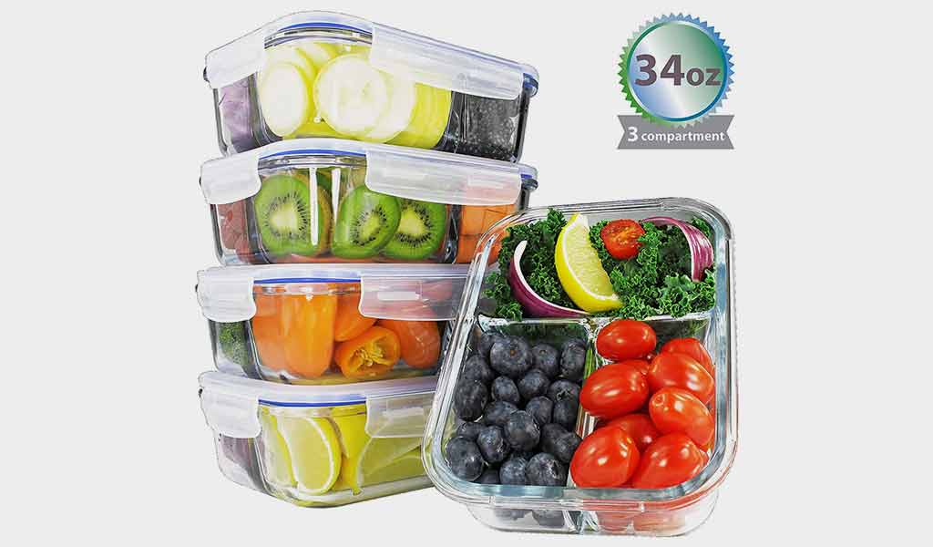 Preplt Glass Meal Prep Airtight Containers