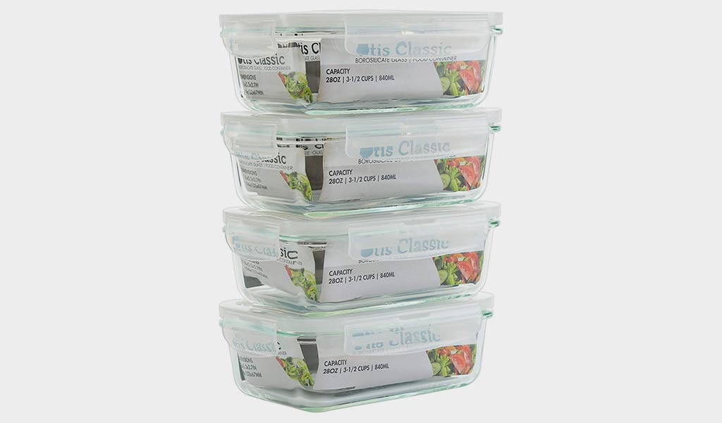 Otis Classic Glass Food Storage 4-Piece Set With Transparent Lids